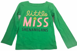 Carters St Patrick's Day Long Sleeve Shirt Little Miss Shenanigans 4T Green - $15.15