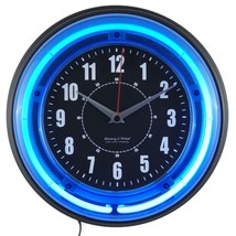 """Retro Analog Wall Clock 11"""" Blue Neon Light Reliable Game Room Man Cave ... - $81.72"""