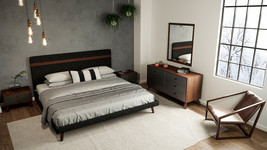 3pcs. Nova Domus Dali Mid-Century Grey Fabric & Walnut Bed with 2 Nightstands - $1,399.00+