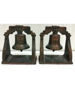 VERONA Liberty Bell Book Ends Cast Iron Copper Bronze Finish Vintage Ant... - $47.88