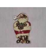 "Cute 1 1/2"" X 7/8"" Christmas SANTA Pin With Rhinestones - $12.59"