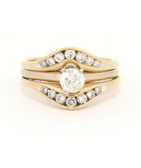 Helzberg 14k Yellow Gold Ring with Guard 1.25 ctw Diamonds Size 8.25 .58... - $769.00