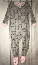 Carters 2t Footed Fleece Pajamas Baby One Piece Girl Cat Grey Pink lounge - $12.59