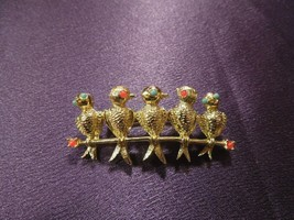 Gerry's Birds of A Feather Brooch Pin Gold Tone Enamel - $19.80