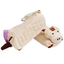 2 Pairs Baby Socks Cotton Anti-skidding Infant Socks 0-12 Months(Khaki Cattle)