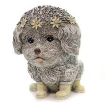 Rainy Day Pudgy Dog Textured Grey 7 x 9 Resin Stone Outdoor Garden Statue - $34.13