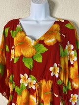 Aloha Fashion Women One Size Red Floral Poncho Style Blouse Loose  - $12.57