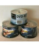 Lot 1 Nexxtech DVD-R 8X 4.7GB and 2 Philips CD-R 80 Min 48X 700MB 50 Dis... - $27.99