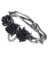 Three Wild Black Roses Thorny Vine Magnetic Clasp Bracelet Alchemy Gothi... - $59.95