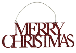 PBK Christmas Decor - Red Glitter Tin Word Merry Ornament - $8.95
