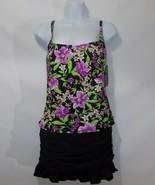 Island Escapes Black /Purple Floral Real Solutions Tankini &  Ruffle Ski... - $34.42