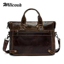 Wilicosh 100% Genuine Leather Bag Men's Messenger Bag Crossbody bags Sho... - $187.32+