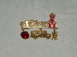 #1 Teacher Danecraft Signed Enamel Vintage Brooch Pin School Charm Bus 18866 - $10.08
