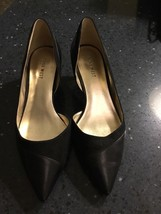 Nine West Black Leather Suede I'm The Boss Pointed Kitten Heel Size 7 - $18.49
