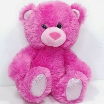 "Russ Pink Glitter Teddy Bear Ruby Plush Stuffed Animal Shiny 9"" Sitting ... - $15.83"