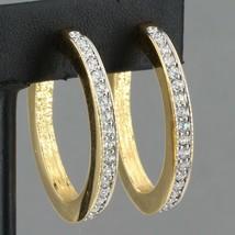 """Swarovski Crystal Goldtone Hoop Earrings 1.25"""" Long Swan Logo - $9.99"""