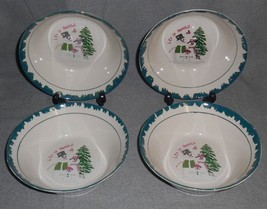 1998 Set (4) Atico International LET IT SNOW Soup/Cereal Bowls CHRISTMAS - $15.83