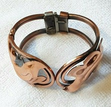 Vintage RENOIR Copper Hinged Cuff Bracelet Ladies Signed - $30.71