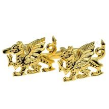 Welsh Golden Welsh Dragon Cufflinks cuff links in gift box