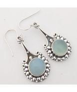 Aqua Chalcedony Gemstone 925 Sterling Silver Earrings, Handmade Jewelry ... - $27.99