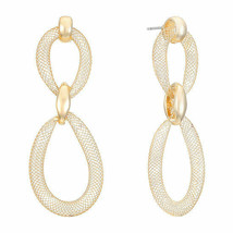 Liz Claiborne Women's Gold Wire Mesh Drop Earrings Gold Tone New - $17.81