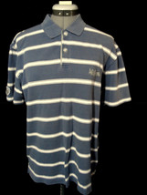 AEROPOSTALE polo T-Shirt M Blue White stripe Short sleeve Textured rugby... - $5.93