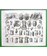 ANCIENT ARMOR Shields Spears Cuirass Scabbards - SUPERB 1844 Antique Print - $18.90