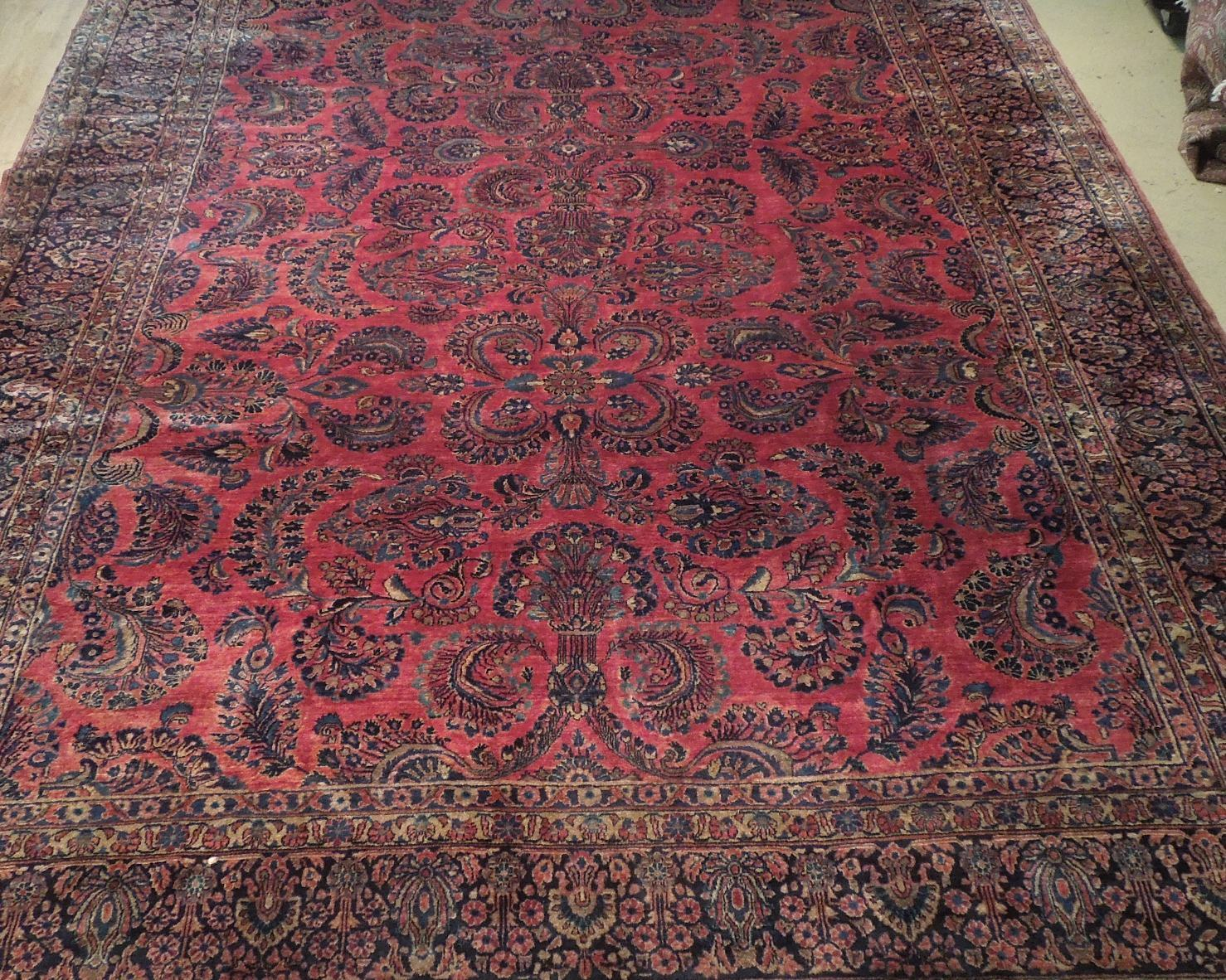 Red Sarouk Persian Wool Handmade Rug 11' x 18' Vivid Red Detailed Original Rug image 9