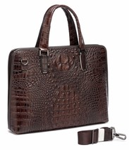 New Crocodile Embossed Pattern Italian Leather Briefcase Laptop Bag Man ... - $179.95