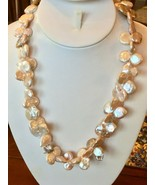 """Butterfly Coin Pearl Necklace 20"""" Baroque Freshwater Silver Lavender pin... - $68.26"""