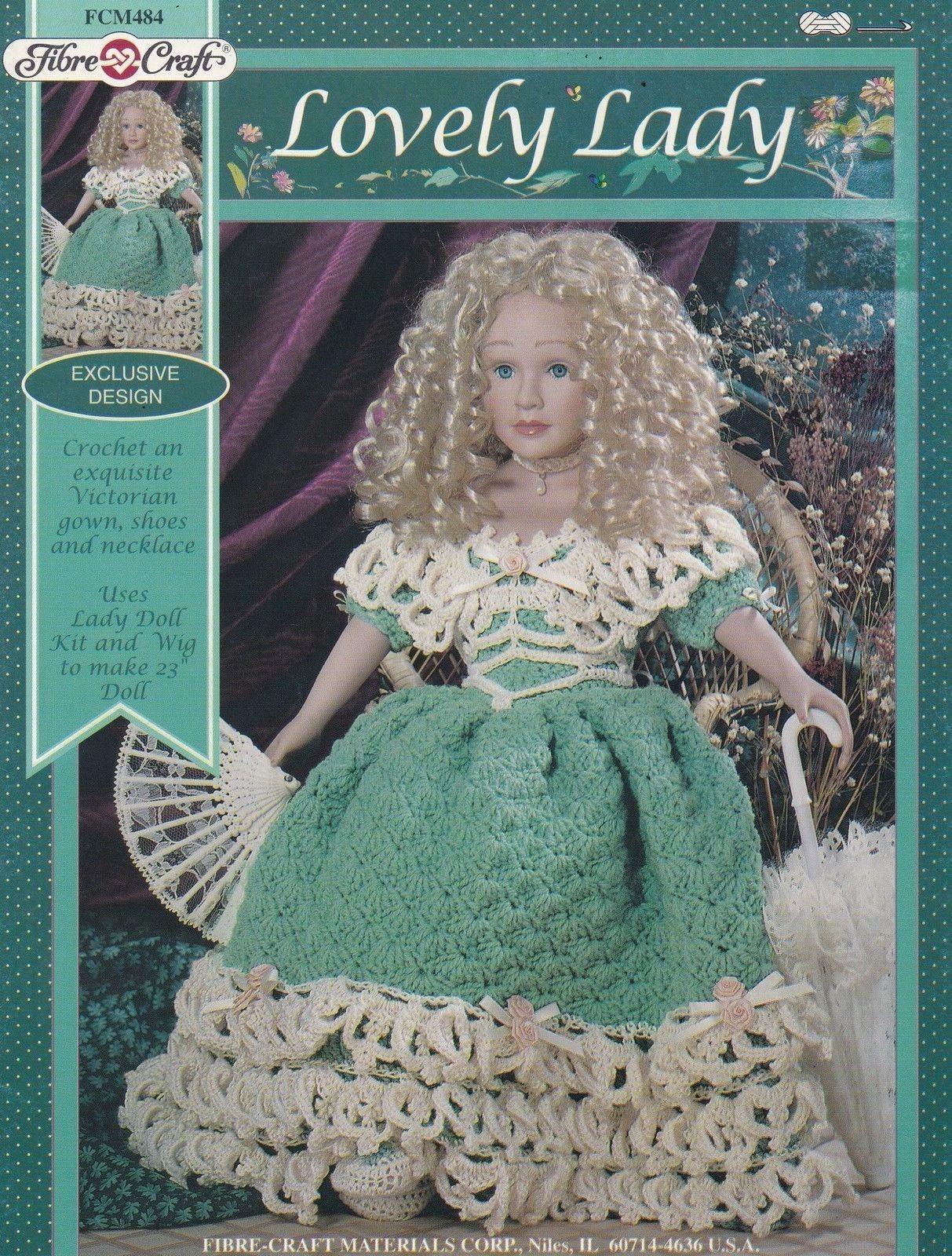 "Lovely Lady Fibre Craft 23"" Doll Clothes Crochet Pattern Leaflet FCM484"