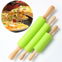 Wooden Handle Silicone Rollers Rolling Pin Pad Fondant Cake Pastry Kitch... - $4.13+