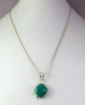 Turquoise Silver Overlay Handmade Pendant With Chain R-1-31 - $4.49