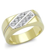MJS 2 Tone Gold & Silver Stainless Steel 8 Crystal Wedding Band Ring Siz... - $13.39