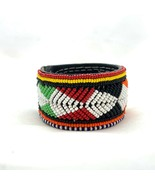 Hand Beaded Feather Motif Leather Bracelet Snap Closure Seed Bead Red Wh... - $37.40