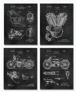 """Set of 4 Harley Davidson Patent Art Prints 8""""x10"""" Wall Decor - Gifts for... - $16.78"""