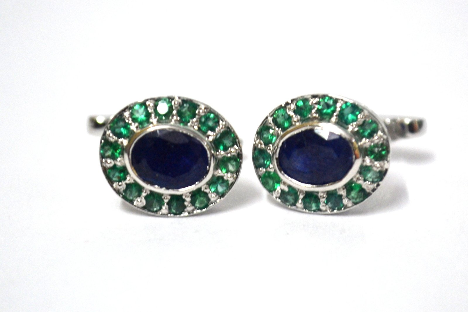 925 Sterling Silver Natural Fine Quality Blue Sapphire And Emerald Gemstone Arti