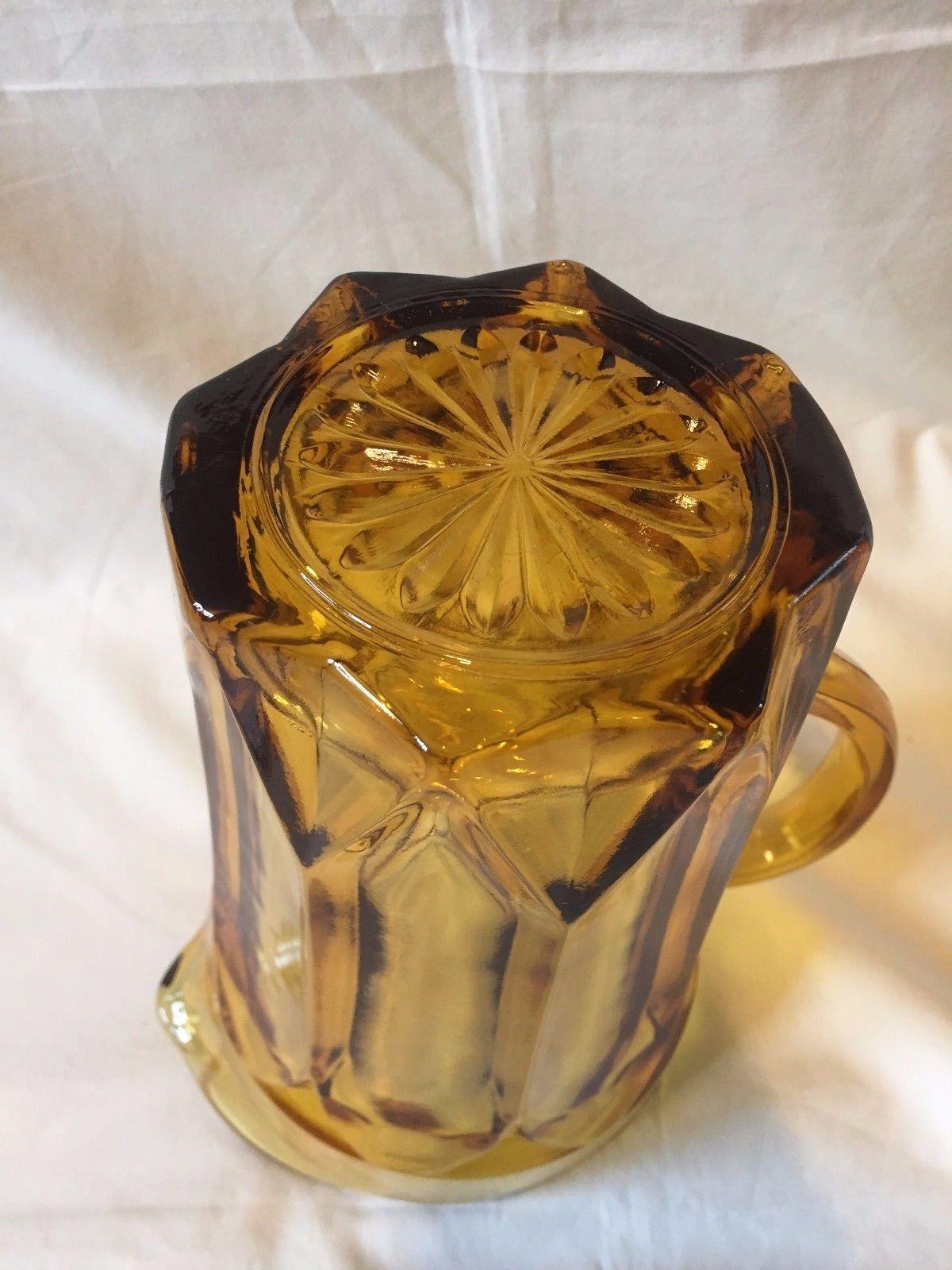 Vtg 70's Amber Glass Juice Beer Pitcher