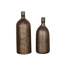 """Uttermost 18852 Biren - 17.5"""" Vase (Set of 2), Textured/Antiqued Gold/Antiqued B - $173.80"""