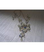 Estate Demi Silvertone Mesh Petal w Blue Rhinestone Accent Flower Drop N... - $23.26