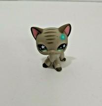 Littlest Pet Shop Gray CAT 483 Green Eyes blue flower striped face kitty - $13.36