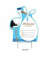 New Baby Stork Outdoor Yard Sign Blue Boy Birth Welcome Garden Grass Dis... - $33.66