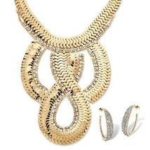 Dramatic Yellow Gold Tone Flat Link Necklace and Earrings Set - $19.99