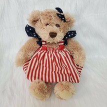 "14"" Animal Adventure Bear Tan Red White Blue USA Americana Plush Toy B228 - $24.99"