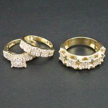 14K Yellow Gold Finish 2Ct Round Sim Diamond Men-Women Trio Wedding Ring... - $99.99