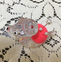 Vintage KITSCHY Clear Lucite Plastic Dog Pin Cushion // Retro Sewing Supplies image 3