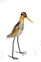 HAND CARVED PAINTED WOOD CARVING SHOREBIRD SANDPIPER BIRD DECOY VINTAGE ... - $19.74