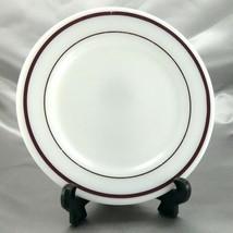 "Corning Decor 711 Bread Plate Milk Glass Maroon Stripe 7¼"" ~ Made in the... - $7.95"