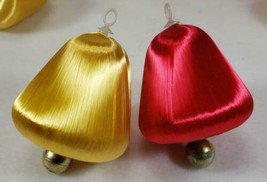 "Vintage Gold & Red Satin BELL Shape Ornaments, 3 1/2"", Lot of 40 - $24.99"