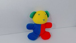 "Eden Teddy bear Baby plush rattle Primary colors red blue yellow green 6.5"" - $26.72"
